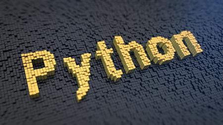 potente lenguaje de programación. Palabra del pitón de los píxeles cuadrados de color amarillo sobre un fondo negro de la matriz. imagen 3D ilustración
