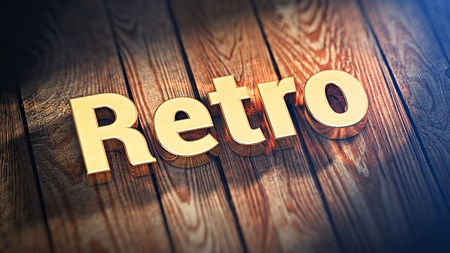 outmoded: The word Retro is lined with gold letters on wooden planks. 3D illustration graphics