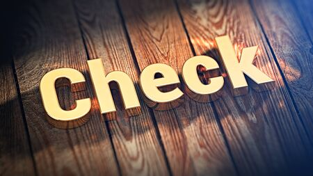 assay: Check list. The word Check is lined with gold letters on wooden planks. 3D illustration image