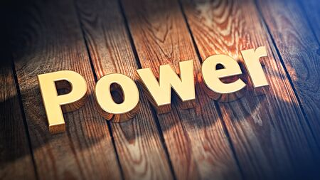golden rule: The word Power is lined with gold letters on wooden planks. 3D illustration picture Stock Photo