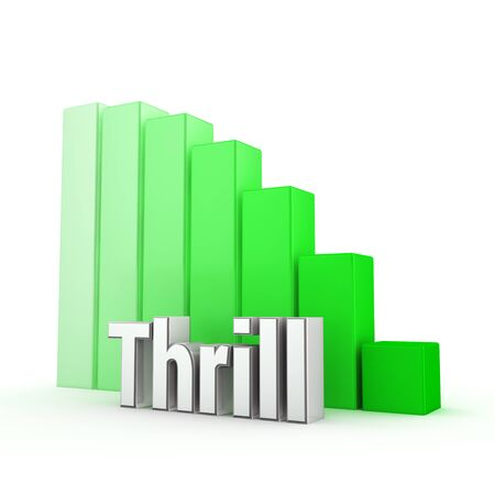 thrill: Word Thrill against the green decreasing graph. 3D illustration picture Stock Photo