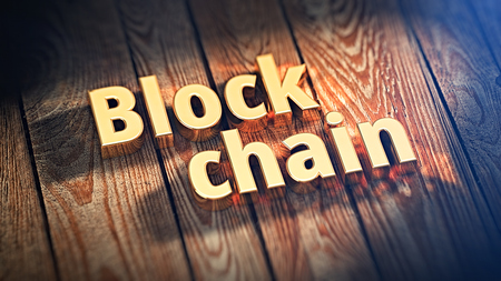 decentralized: The words Block chain is lined with gold letters on wooden planks. 3D illustration image