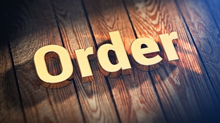 injunction: The word Order is lined with gold letters on wooden planks. 3D illustration picture Stock Photo