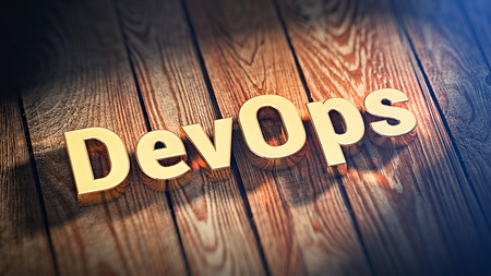 Development operations. The word DevOps is lined with gold letters on wooden planks. 3D illustration image