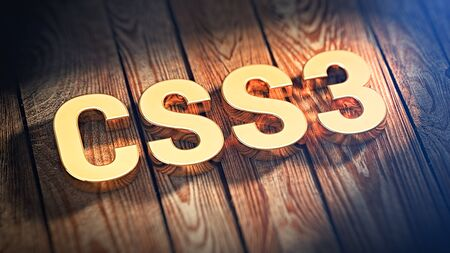 The word CSS3 is lined with gold letters on wooden planks. 3D illustration image