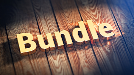 bundle of letters: The word Bundle is lined with gold letters on wooden planks. 3D illustration image