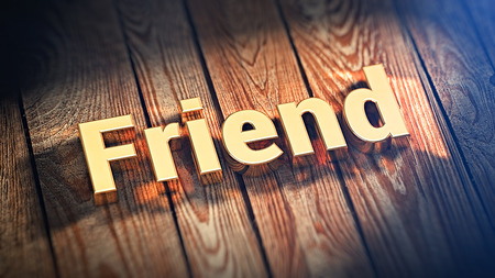 soul mate: The word Friend is lined with gold letters on wooden planks. 3D illustration image Stock Photo