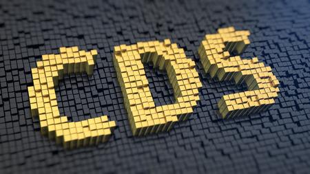 cds: Credit default swap. Acronym CDS of the yellow square pixels on a black matrix background. 3D illustration graphics Stock Photo