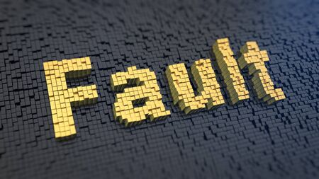 flaw: Word Fault of the yellow square pixels on a black matrix background. 3D illustration jpeg Stock Photo