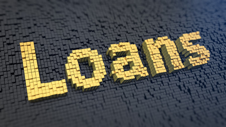 loans: Microfinance concept, payday loans. Word Loans of the yellow square pixels on a black matrix background. 3D illustration graphics Stock Photo