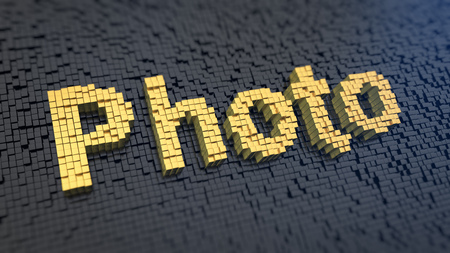 tog: Word Photo of the yellow square pixels on a black matrix background. 3D illustration picture