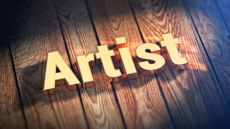 originator: The word Artist is lined with gold letters on wooden planks. 3D illustration image