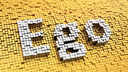 ego�sta: C�mo dejar de ser ego�sta? Pixelada palabra ego hecha de cubos, patr�n de mosaico. 3D ilustraci�n imagen
