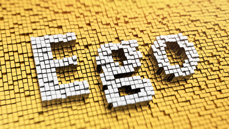 selfish: How to stop being selfish? Pixelated word Ego made from cubes, mosaic pattern. 3D illustration picture