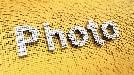 tog: Pixelated Photo word made from cubes, mosaic pattern. 3D illustration image