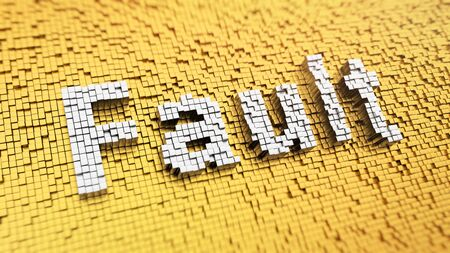 fault: Pixelated Fault word made from cubes, mosaic pattern. 3D illustration graphics