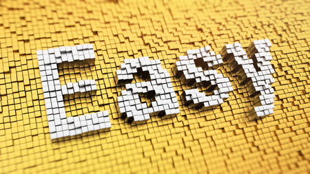 readily: Good things are easy. Pixelated Easy word made from cubes, mosaic pattern. 3D illustration picture