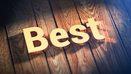 nailing: The word Best is lined with gold letters on wooden planks. 3D illustration image