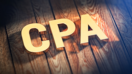 cpa: The acronym CPA is lined with gold letters on wooden planks. 3D illustration image