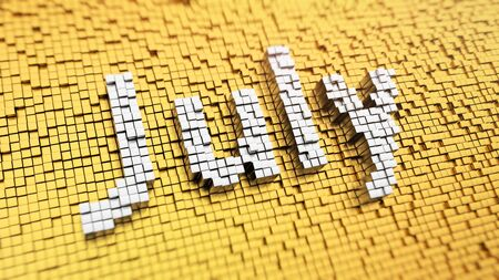 month 3d: Second summer month. Pixelated word July made from cubes, mosaic pattern. 3D illustration graphics