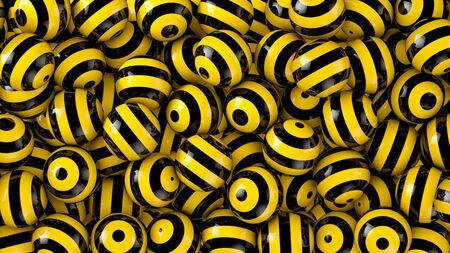 Fuerte contraste con rayas de color amarillo-negro Esferas fondo abstracto