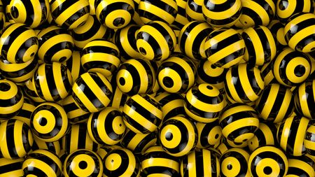 contrast: Strong contrast black-yellow striped spheres abstract background