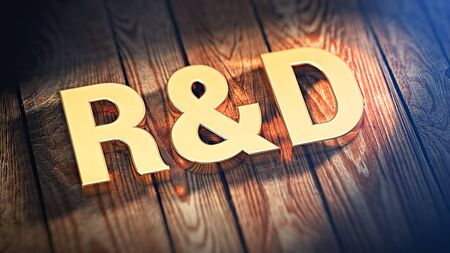rd: Acronym R&D is lined with gold letters on wooden planks. 3D illustration image