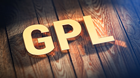 end user: Acronym GPL is lined with gold letters on wooden planks. 3D illustration image Stock Photo
