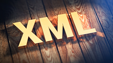 xml: Acronym XML is lined with gold letters on wooden planks. 3D illustration image Stock Photo