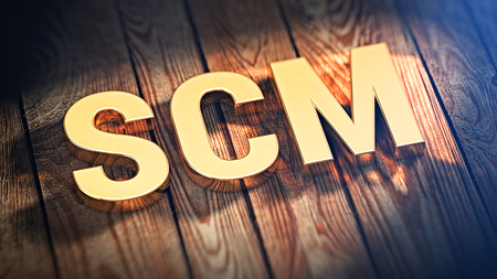 scm: Acronym SCM is lined with gold letters on wooden planks. 3D illustration image