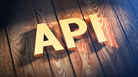 api: The acronym API is lined with gold letters on wooden planks. 3D illustration image