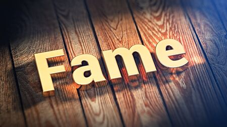 prominence: The word Fame is lined with gold letters on wooden planks. 3D illustration image