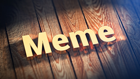 memes: The word Meme is lined with gold letters on wooden planks. 3D illustration image Stock Photo