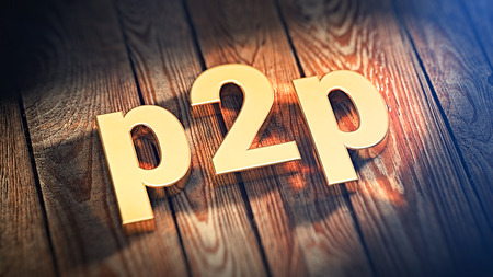 peer to peer: Distributed network data transfer. Peer to peer concept. Acronym p2p is lined with gold letters on wooden planks. 3D illustration image