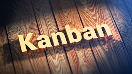 scheduling system: The word Kanban is lined with gold letters on wooden planks. 3D illustration pic