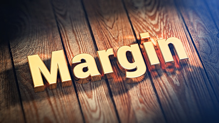 margen: The word Margin is lined with gold letters on wooden planks. 3D illustration pic Foto de archivo