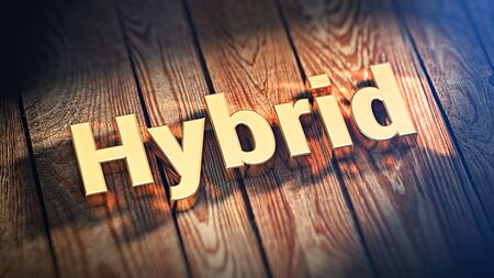 The word Hybrid is lined with gold letters on wooden planks. 3D illustration picture