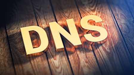 dns: Domain Name System concept. Acronym DNS is lined with gold letters on wooden planks. 3D illustration image Stock Photo
