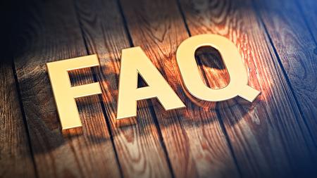 """자주 묻는 질문. 약어 """"FAQ""""는 나무 판자에 금색 문자로 표시되어 있습니다. 3D 일러스트 이미지"""