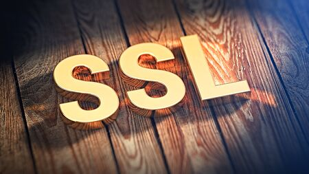 """Network secure protocol concept. Secure sockets layer. Acronym """"SSL"""" is lined with gold letters on wooden planks. 3D illustration image"""