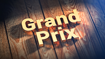 """The words """"Grand Prix"""" is lined with gold letters on wooden planks. 3D illustration image"""