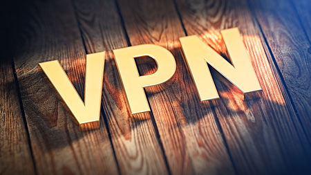 shared sharing: Acronym VPN is lined with gold letters on wooden planks. 3D illustration image
