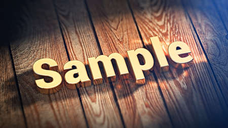 exemplar: The word Sample is lined with gold letters on wooden planks. 3D illustration image Stock Photo