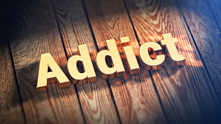 jpeg: The word Addict is lined with gold letters on wooden planks. 3D illustration jpeg