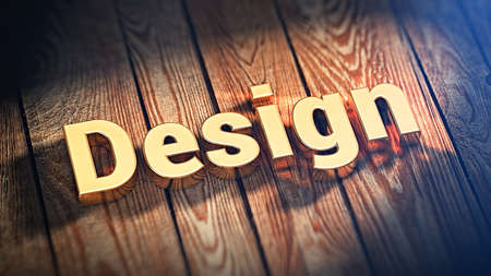 originate: The word Design is lined with gold letters on wooden planks. 3D illustration image Stock Photo