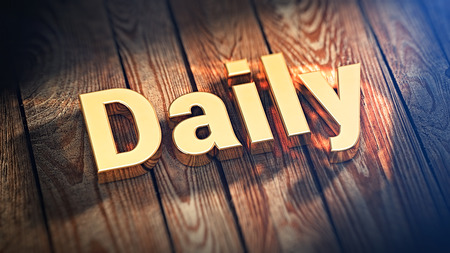 and diurnal: The word Daily is lined with gold letters on wooden planks. 3D illustration image