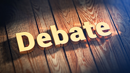 deliberation: The word Debate is lined with gold letters on wooden planks. 3D illustration image