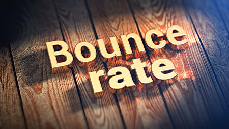 """Words """"Bounce rate"""" is lined with gold letters on wooden planks. 3D illustration image"""