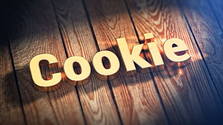 customer records: The word Cookie is lined with gold letters on wooden planks. 3D illustration image Stock Photo