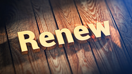 recuperate: The word Renew is lined with gold letters on wooden planks. 3D illustration graphics